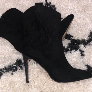 Express black cowboy style booties